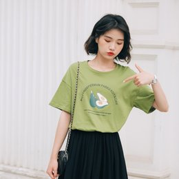 Korean Print T Shirt For Women Australia - Butter Fruit Pattern Printed T-shirt for Women Summer 2019 New Korean Loose Little Fresh Student Bottom T-shirt