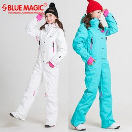 Overall Suits Australia - Blue magic new winter snowboard kombez ski jacket and pant ski suits females jumpsuit women snowboard waterproof overall Russia