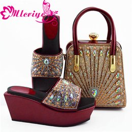 $enCountryForm.capitalKeyWord Australia - Shoes and Bag Set African Sets 2019 Summer High Heeled Shoes for Women Nigerian Women Party Pumps with Purse Block Heel Shoes