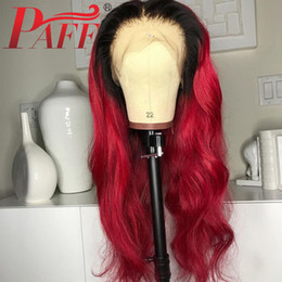 red lace front wig human hair Canada - PAFF Ombre Red Lace Front Human Hair Wigs Natural Wave Brazilian Red Remy Hair Pre Plucked Lace Front Wig With Baby Hair