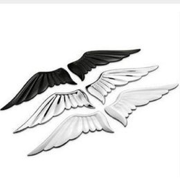 3d angel stickers online shopping - 3D Alloy Metal Angel Hawk Wings Emblem Badge Decal Car Logo Sticker golden silver color optional pair for all car decoration