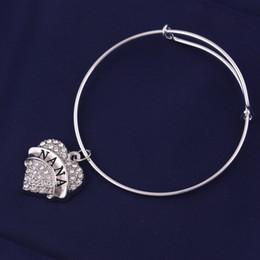 $enCountryForm.capitalKeyWord Australia - Fashion Design Peach Heart Crystal Engraved Letter Pendant NANA MIMI GYMNASTICS BEST FRIEND YAYA Letter Adjustable Bangle