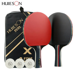 Huieson 2Pcs Upgraded 5 Star Carbon Table Tennis Racket Set Lightweight Powerful Ping Pong Paddle Bat with Good Control T200410 on Sale