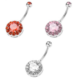 ball belly button rings UK - 3 Pcs Fancy Round Belly Button Rings Multicolor Crystal Bar Ball Navel Rings