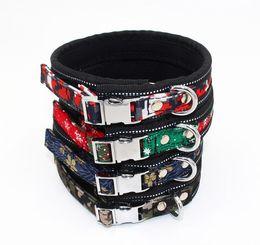 Metal Collars Wholesale NZ - Textile printed padded dog collar Metal Snap Personalized Dog Collar Custom Engraved belt for large and medium breeds