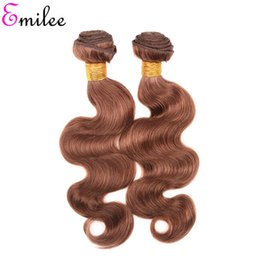 light brown hair weave closure Canada - Emilee #30 Remy Hair Extension Brazilian Light Brown Color Body Wave 4 Bundles With Closure Pre-Colored Ombre Hair Weave