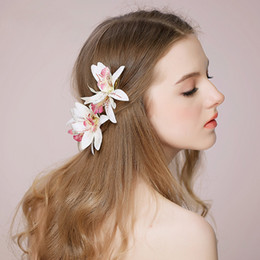 orchid hair clips wedding NZ - 2019 New Wedding Party Headpieces With Orchids Hairpins Women Hair Jewelry Flower Bridal Hair Accessories BW-HP511