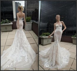 Inbal Dror Dresses Australia - 2019 New Beach Lace Mermaid Wedding Dresses Sweetheart Berta Inbal Dror Backless Bridal Gowns Applique Long Train Trumpet Wedding Gowns 1288