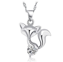 Cheap Chain Pendants UK - 925 Sterling Silver Fox Necklace Love Cubic Zircon Fox Pendant Bohemian Animal Fashion Korean Necklace Pendant For Women Brand New Cheap Pri