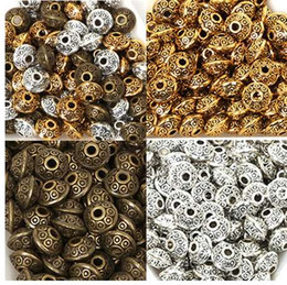 Wholesale 50PCs bag mm Tibetan Metal Beads Antique Gold Silver Oval UFO Shape Loose Spacer Beads for Jewelry Making DIY Bracelet Charms