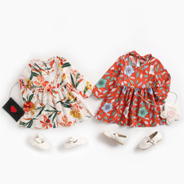 organic girls dresses Australia - INS Little Girls Dresses Spring Autumn Floral Flower Printing Children Girls Dress Tatting Cotton Ruffles Long Sleeve Summer Clothes