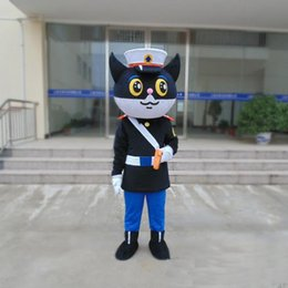 Hot Cat Suits Australia - 2019 Hot sale new On Sale new black cat policeman mascot costume Cartoon Animal adult Fancy Dress Cartoon Suit