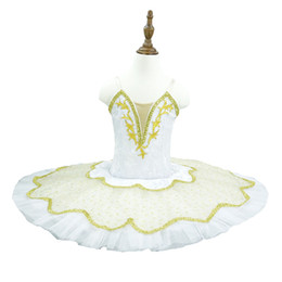 tutus women NZ - profeessional White Gold Decoration Ballet Tutus Girl and women performance pancake Tutu Skirt Children Pancake Snow Swan Dance Costumes