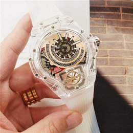 Wholesale Swiss brand men watches MP watch Transparent clear case silicone strap quartz movement high quality fashion designer montre de luxe