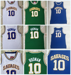 Green S Jersey Australia - Top Quality Oklahoma Savages 10 DENNIS RODMAN Jersey Mens Blue White Green Denni100% Stitched College Basketball Jerseys S-3XL Fast Shipping