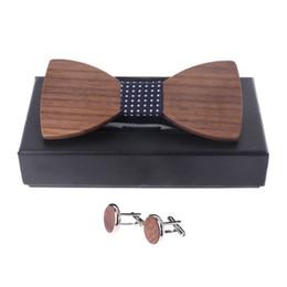 Quality Bowties Australia - Stylish Wedding Wooden Bow Tie Cufflinks Set Men Suit Tie High Quality Walnut Wood Bowties Gift Box