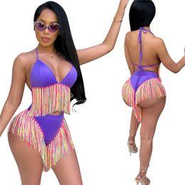 79519886582 Sexy Long Tassel Bikini Set Women Vintage Fringe Ladies Low Waist Swimsuit  Beach Wear Push Up Large Size Bikini Rainbow Bathing Suits A52103