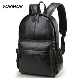 pu leather book bag Australia - Vormor Brand Men Backpack Leather School Backpack Bag Fashion Waterproof Travel Bag Casual Leather Book Bag Male SH190725