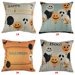 Wholesale Halloween Party Decorative Pillow Cover Sofa Cushion Cover Pumpkin Ghost Balloon Print Pillow Case x18inch Cushion Cover DBC VT0570