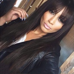 Brazilian Lace Wigs Fringe Australia - Straight Lace Front Wig Peruvian Virgin Hair Full Fringe Wig Human Hair Glueless Full Lace Wig With Bangs Bleached Knots For Black Women