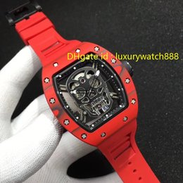 SwiSS SportS watcheS for men online shopping - Luxury Watch For Men Carbon Fiber Case Automatic Wristwatch Hollowing out Skull Design Rubber Strap Sport Style High Quality Swiss Watches