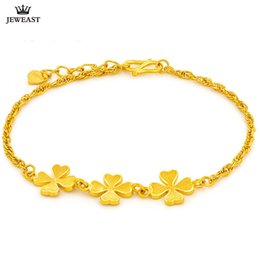 Discount gold lucky clover - SFE 24K Pure Gold Bracelet Real 999 Solid Gold Bangle Lucky Four Leaved Clover Trendy Classic Party Fine Jewelry Hot Sel