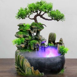 Wedding figurines online shopping - 1 Resin Rockery Fountain LED View Feng Shui Lucky Figurines Ornament Home Office Decor