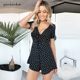 yinlinhe Black Polka Dot Playsuit Women Short Sleeve v neck Drawstring overalls  summer sexy rompers lace up casual jumpsuit 842 009351167