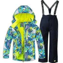 Wholesale Children s Ski Suit Boys Girls Ski Jacket With Overalls Waterproof Thick Outdoor Clothes Set Warm Suits For Russian
