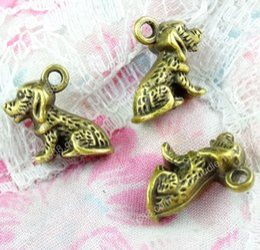 Puppy Dog Earrings Australia - 100pcs 13.5*15MM Antique bronze tibetan alloy dog puppy charms for bracelet vintage metal pendant for earring handmade DIY jewelry making