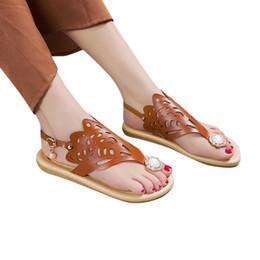862385308e92 2019 Sandal flat Pearl Sandals Women Rome Boho Bohemian Shoes Female Summer Flat  Casual Roman Shoes Pearl Hollow Beach Sandals