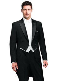 Tail coaT suiTs online shopping - Latest Wedding Man Tail Coat for Groom Suits Double Breasted Piece Set Black Jacket Pants White Vest for Prom Party Stage Dance