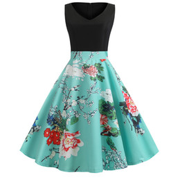 Wholesale swing sexy hot resale online – Hot selling women sexy V neck flower print A line dress lady cocktail party holiday wear back zipper sleeveless swing dress