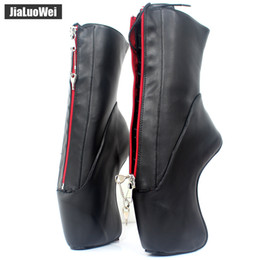 $enCountryForm.capitalKeyWord Australia - jialuowei 18CM High Heel Hoof Heelless Ballet Boots Pointed Toe Sexy Lockable Zipper Ankle Women Unisex Boots Plus Size 36-46