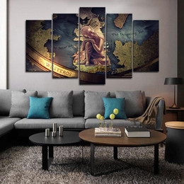 $enCountryForm.capitalKeyWord Australia - Framed 5pcs Golden Buddha Paintings Game Map Wall Art HD Print Canvas Painting Fashion Hanging Pictures Home Decor