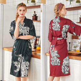 6c859c0af7189 2019 New Female Summer Stain Silk Bath Robes For Women Tiger Print Home  Long Bathrobes Dressing Gown Nightgown