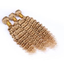 26 Inch Deep Wavy Hair Australia - Brazilian Blonde 27 Deep Wave Wavy virgin human Hair Weaves Brazilian Deep Curly Virgin Human Hair Weft Extensions 3 Bundles lot