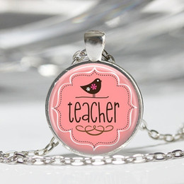$enCountryForm.capitalKeyWord Australia - 2019 new pink bird and teacher letter photo necklace convex round glass pendant fashion pendant gift for teacher