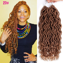 faux locs ombre crochet NZ - 18inches Crochet Goddess Locs Hair Extensions Faux Locs Curly Crochet Braids Ombre Kanekalon Braiding Hair Bohemian locks 24 Stands