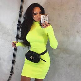$enCountryForm.capitalKeyWord Australia - Womens Dresses 2019 Spring & Autumn New Simple Half Turtleneck Dress Tight Skinny Solid Color Skirt Fashion Orange Fluorescent Yellow Dress