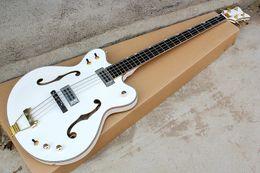 4 corde bianco Semi-Hollow Body Electric Bass Chitarra con hardware dorato, tastiera in palissandro, offerta Personalizza in Offerta