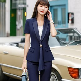 lady s short pants Canada - Professional pants suits 2020 summer new fashion short sleeve blazer and pants office ladies temperament work wear