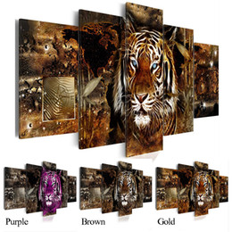 african animal canvas art UK - Hot Sell( No Frame )5 Pieces Canvas Print Modern Fashion Wall Art the African Animals Tiger for Home Decoration