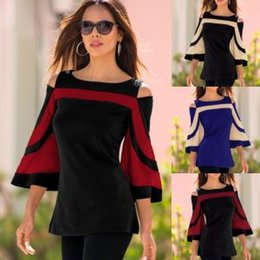 Wholesale Stitching Bat Sleeve T shirt women Off the shoulder Women s Top T shirt Casual Blouse Loose Strapless lady top home clothes FFA1557