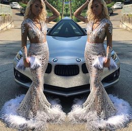 Navy Full Sleeve Prom Dress Australia - 2019 Elegant Silver Long Sleeve Prom Dresses Illusion Mermaid V Neck Mermiad Full Lace Feather Girls Pageant Gown Formal Evening Dresses