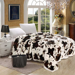 super king blankets Canada - Super Soft Raschel Blanket Animal Cow Skin Flower Print Double Layer Queen King Size Double Bed Thick Warm Winter Mink Blankets