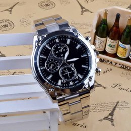 Stainless Watch Army Australia - Atmospheric Steel Band Luxury Men's Date Fashion Army Sport Stainless Steel Quartz Analog Wrist Watch