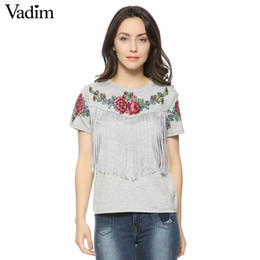 Rose Floral Print Tops Australia - Women Tassel Floral Print T Shirt Vintage Red Rose Tees O Neck Short Sleeve Shirts Blusa Feminina Casual Slim Brand Tops Dt42 Q190509