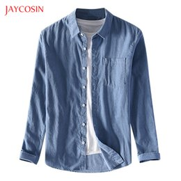 Wholesale gray button shirt resale online – Joycosin Winter Men shirt Casual Fashion male clothes Street Wild Button Shirt pocket Solid Long Sleeve men tops