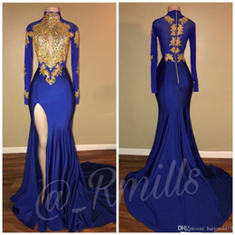 $enCountryForm.capitalKeyWord Australia - Royal Blue Gold Lace Appliques High Neck Prom Dresses Mermaid Keyhole Long Sleeves African Side Split Black Girl Party Evening Gowns